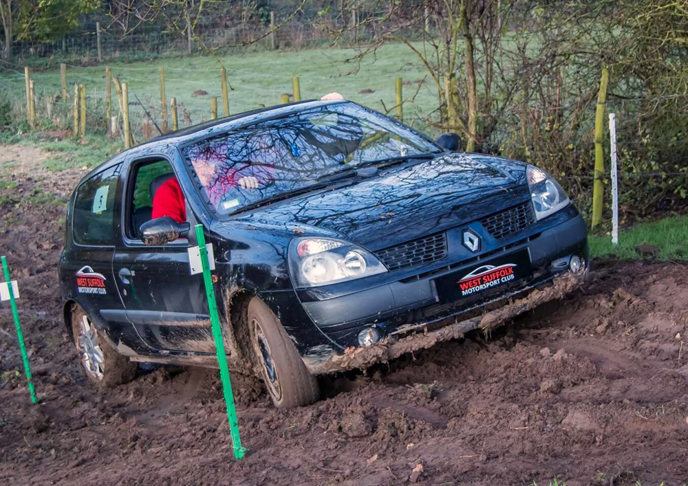 Car trials - action in the mud!